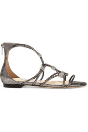 Memento Talla crystal-embellished lizard-effect leather sandals