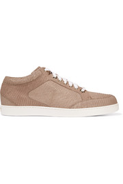 Jimmy Choo Miami metallic lizard-effect leather sneakers