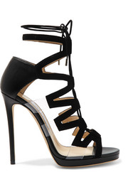 Jimmy Choo Dani cutout leather, suede and PVC sandals