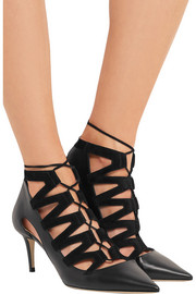 Jimmy Choo Dixon cutout leather and suede pumps
