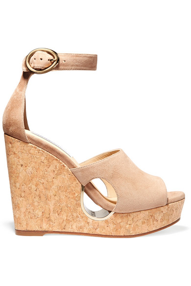 jimmy choo female 186518 jimmy choo neyo suede wedge sandals beige