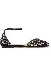 Jimmy Choo Davinia crystal-embellished suede point-toe flats