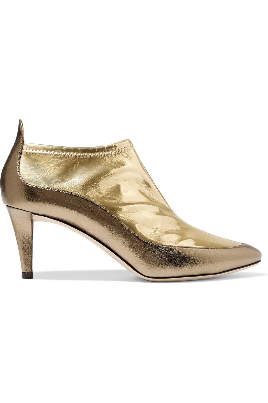 Jimmy Choo Dierdre Two-Tone Metallic PVC and Textured-Leather Ankle Boots, Gold, Women's US Size: 6.5, Size: 37