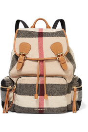 Burberry Prorsum Medium leather-trimmed checked felt backpack