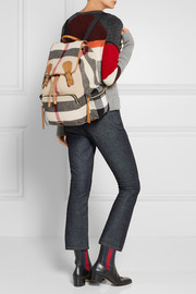 Burberry Medium leather-trimmed checked felt backpack