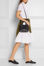 Burberry London mini checked canvas-paneled textured-leather shoulder bag