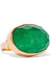 Gold-plated jade ring