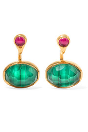 Gold-plated, malachite and zircon earrings