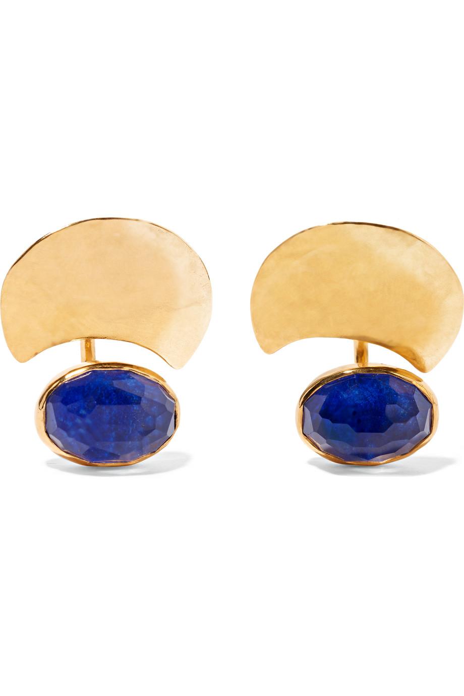 Mezzaluna Gold-Plated Lapis Lazuli Earrings, Blue/Gold, Women's