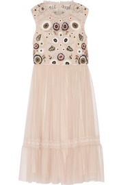 Needle & Thread Embellished lace-trimmed tulle dress