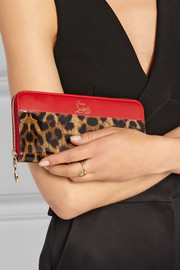 Panettone leopard-print leather continental wallet