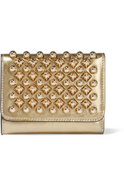 Macaron mini metallic studded leather wallet