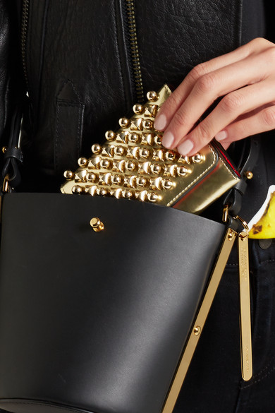 08368ec929d Macaron mini metallic studded leather wallet