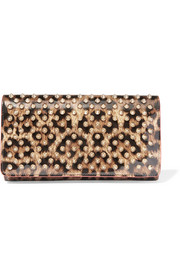 Macaron spiked leopard-print patent-leather wallet