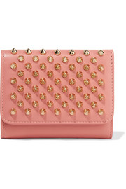 Macaron mini spiked leather wallet