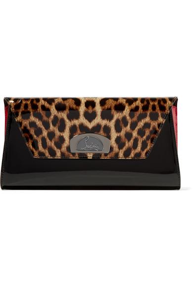 Christian Louboutin - Vero Dodat Leopard-print Patent-leather Clutch - Black