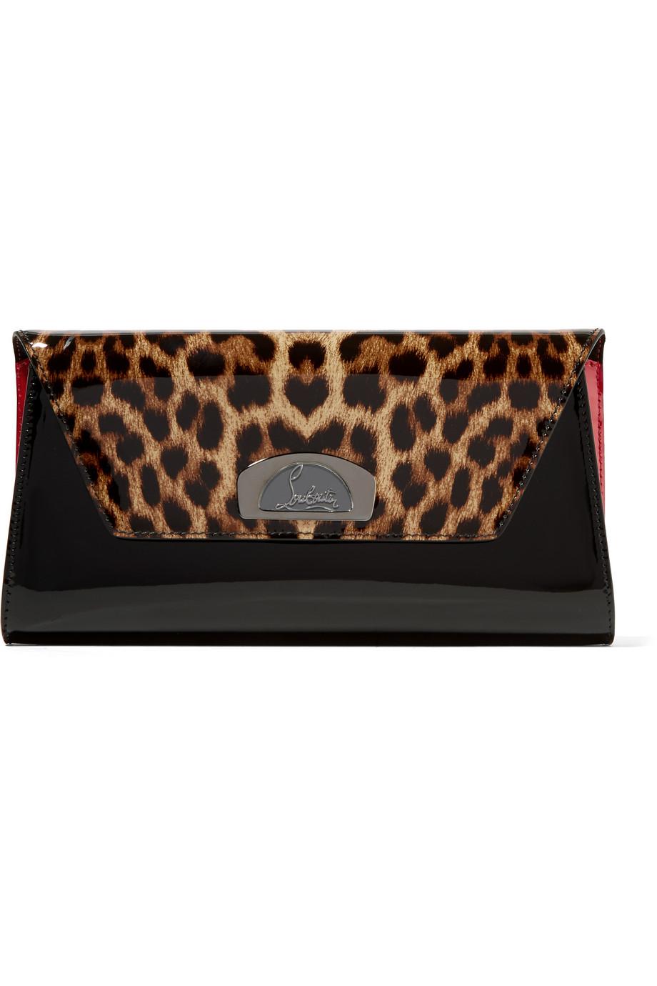 Christian Louboutin Vero Dodat Leopard-Print Patent-Leather Clutch, Black, Women's