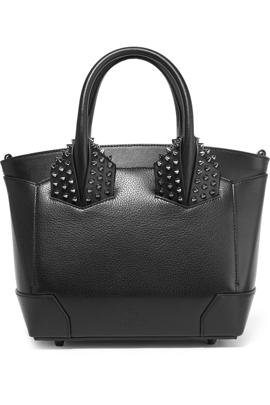 Christian Louboutin Eloise Small Spiked Textured-Leather Tote, Black, Women's
