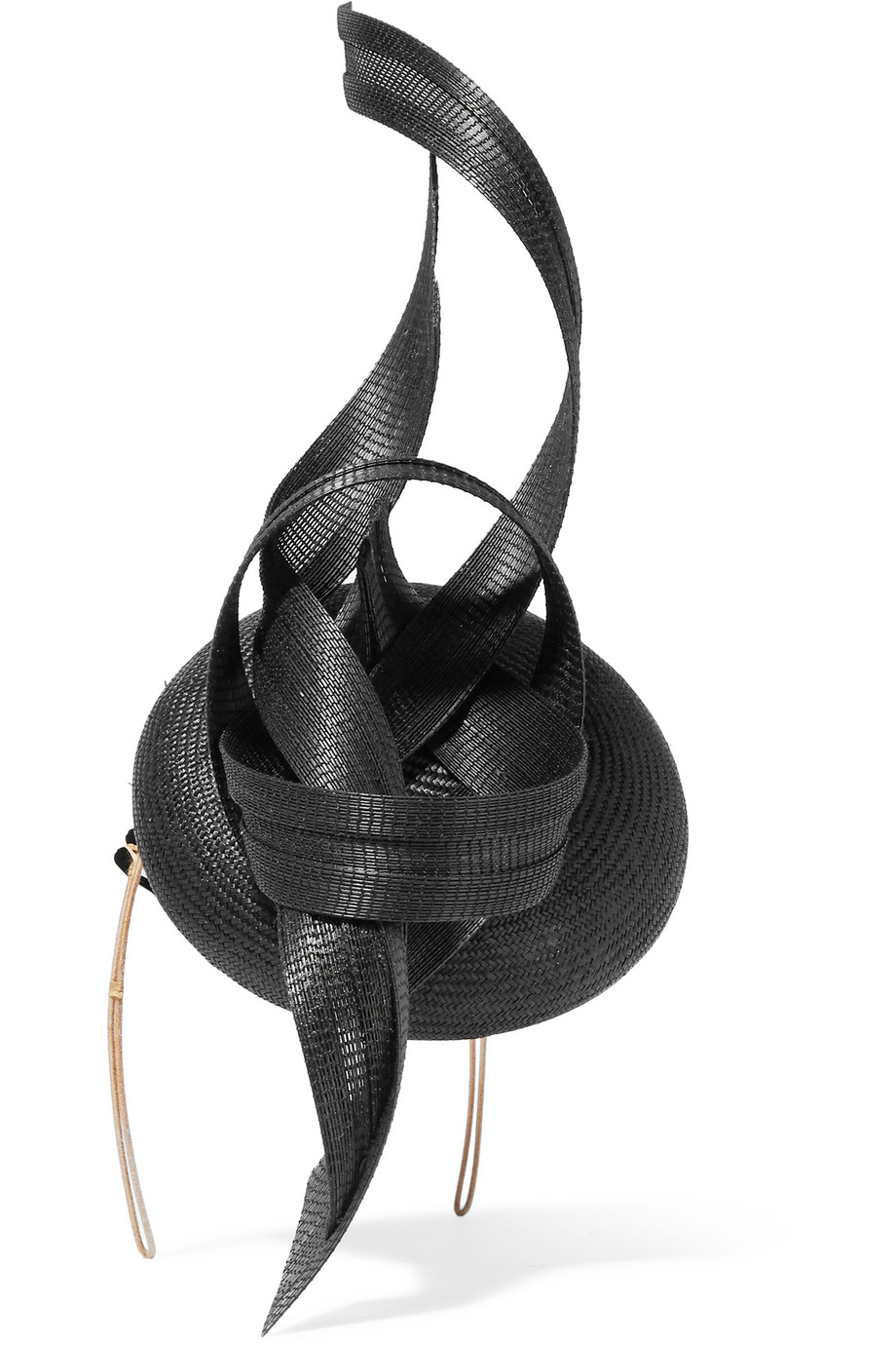 Philip Treacy Parasisal and Buntal Straw Headpiece, Black, Women's