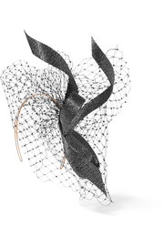 Crystal-embellished veiled buntal straw headpiece