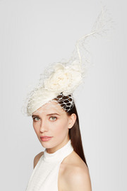 Veiled parasisal straw and organza headpiece