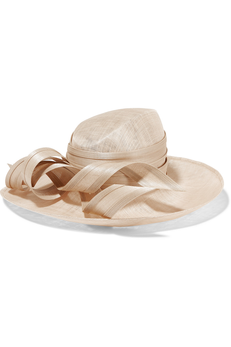 Philip Treacy Wide-Brim Buntal Straw Hat, Blush, Women's