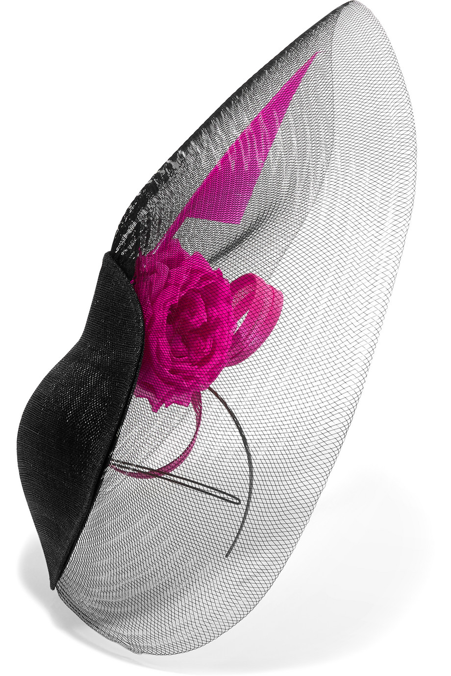 Philip Treacy Sinamay and Buntal Straw Mesh Headpiece, Black/Pink, Women's