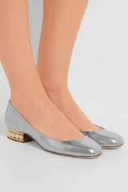 Nicholas Kirkwood Casati embellished metallic leather ballet flats