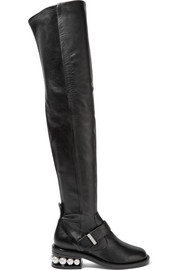Nicholas Kirkwood Casati embellished leather over-the-knee boots