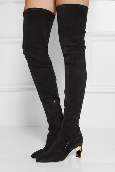 Nicholas Kirkwood | Maeva embellished stretch-suede over-the-knee ...