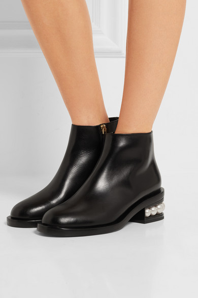 Nicholas Kirkwood 39 Casati 39 Faux Pearl Heel Leather Ankle Boots