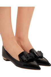 Nicholas Kirkwood Beya bow-embellished patent-leather point-toe flats