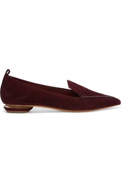 Beya Suede Point-Toe Loafers in Red
