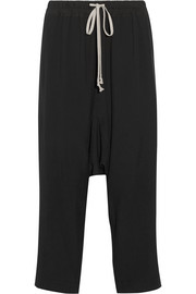 Rick Owens Cropped washed-cady track pants