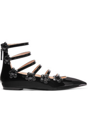 Fendi Embellished floral-appliquéd patent-leather point-toe flats