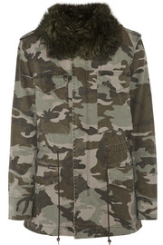 Shearling-lined camouflage-print cotton-canvas parka