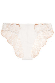 La Perla Talisman embroidered Chantilly lace and stretch-satin briefs