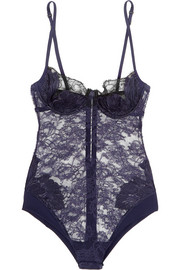 La Perla Talisman embroidered Leavers lace and stretch-satin bodysuit