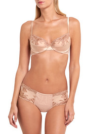 Morgane embroidered tulle and stretch-satin briefs