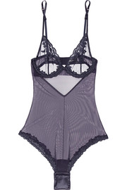 La Perla Morgane embroidered stretch-tulle bodysuit