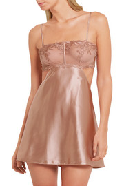 La Perla Morgane cutout embroidered tulle and stretch silk-blend satin chemise