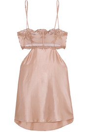 Morgane cutout embroidered tulle and stretch silk-blend satin chemise
