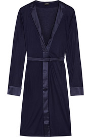 Morgane silk satin-trimmed stretch-jersey robe