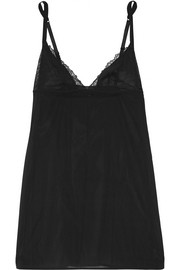La Perla Lace Flirt Leavers lace-trimmed stretch silk-blend chemise