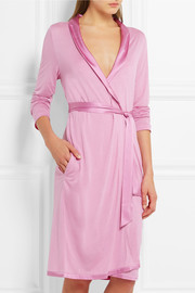 Windflower satin-trimmed modal-jersey robe
