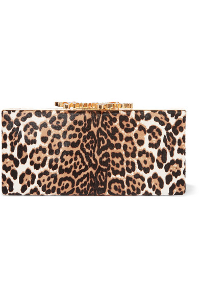 Jimmy Choo - Celeste Embellished Leopard-print Calf Hair Clutch - Leopard print