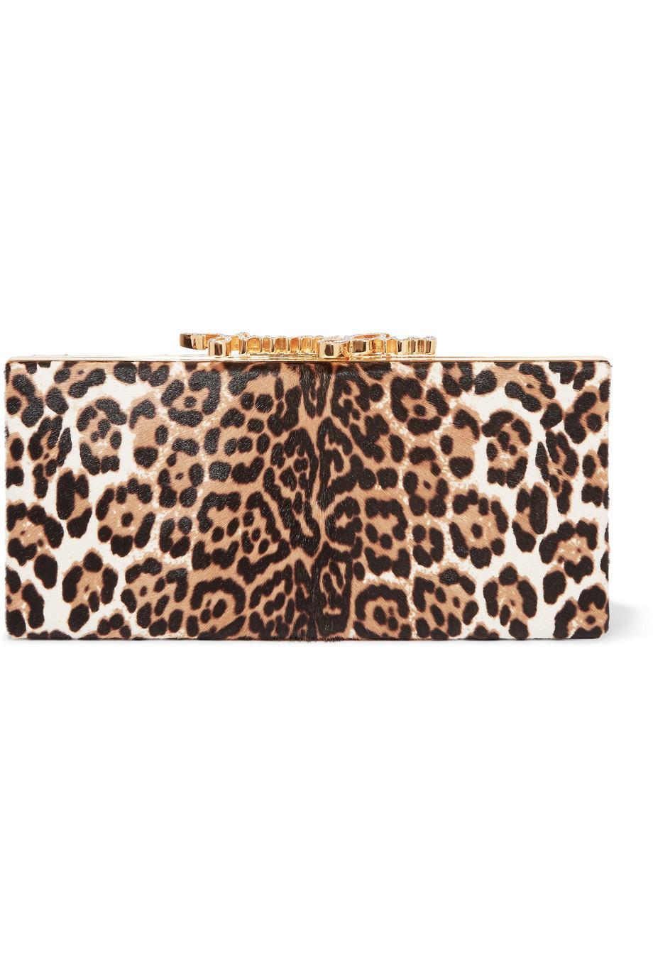 Jimmy Choo Celeste Embellished Leopard-Print Calf Hair Clutch, Leopard Print, Women's