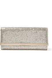 Jimmy Choo Milla glittered canvas clutch