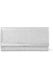 Milla glittered snake-effect leather clutch