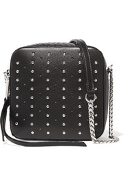 Jimmy Choo Roxi studded leather and glossed-elaphe shoulder bag
